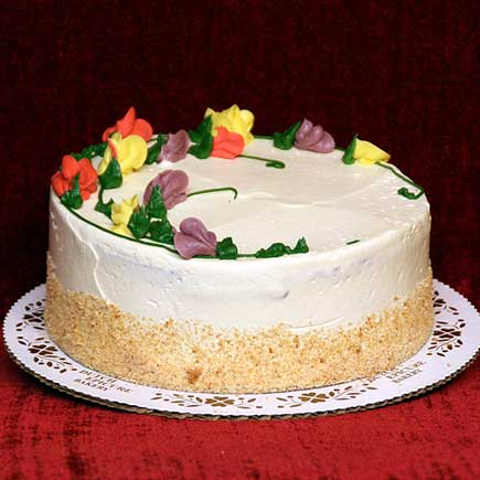 A Layer Cake Iced And Filled With Coffee Flavored Buttercream